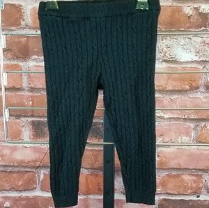 Genuine kids black sparkly cable-knit leggings